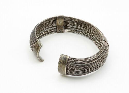 925 Sterling Silver - Vintage Twist Detailed Round Cuff Bracelet - B6222 image 3