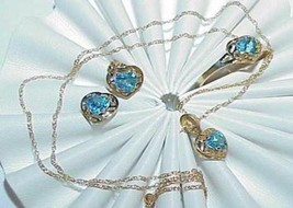 10K Blue Topaz Hearts Necklace Earring Ring 3 pc Set Yellow Gold New Tags - $455.39