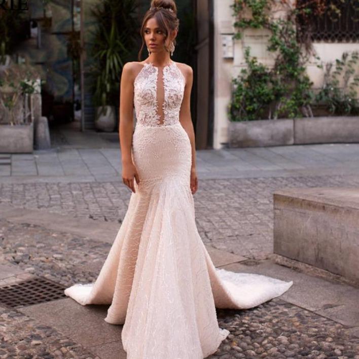 wedding dress 2019 elegant lace princess bridal dress sleeveless romantic appliques vestidos de