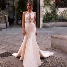 Sexy Sleeveless Romantic Appliques Mermaid Princess Wedding Dress image 1