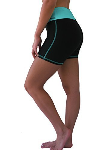 W Sport Women's Moisture Wick Skinny Athletic Yoga or Running Shorts, Teal, Medi