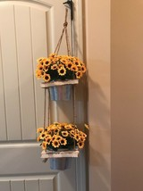 New 2 Level Silk Hanging Plant Faux Artificial Sun Flowers Nearly Natural - $88.11