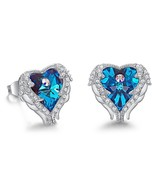 Crystals From Swarovski Earrings Luxury Blue Purple Fashion Jewelry Eleg... - $25.64