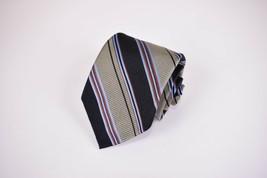 Robert Talbott BoC Silk Neck Tie In Gray With Black Orange And Blue Stripes - $7.20