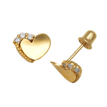 14K Solid Yellow Gold CZ Heart Shape Children Stud Earrings Screw Back  - $49.49