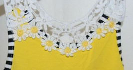 Rare Editions Girls Cotton Lace Sleeves Back Yellow Black Flowers Size 5 image 2