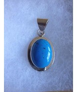 Sterling Silver Blue Turquoise Pendant Signed Mexico TA-73 - $48.95