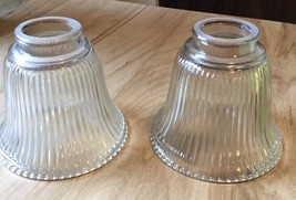 "GLOBES FOR LIGHT FIXTURES 2 1/4"" FITTER TWO GLASS CLEAR RIBBED REPLACEMENT - $6.99"