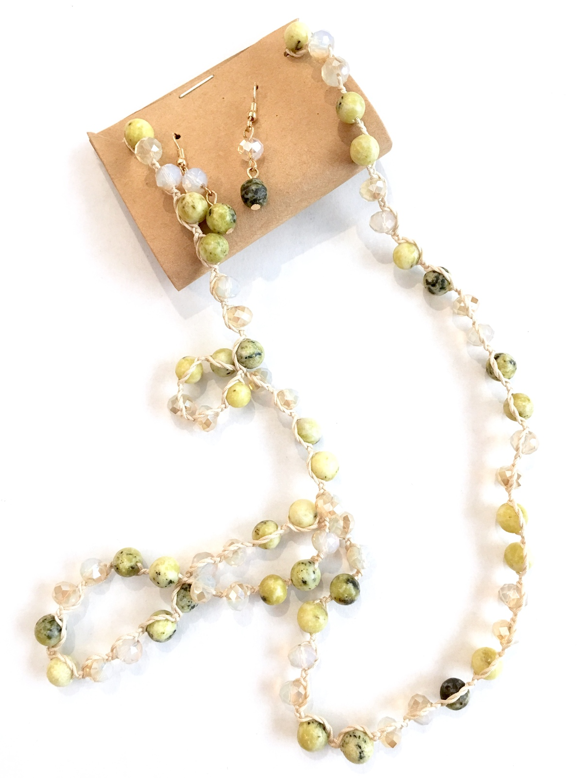 Green Crystal Necklace, Long Beaded Necklace, Lime Necklace Earrings Set