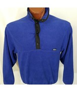 WOOLRICH T-Snap Fleece Pullover Blue Unisex M Medium Made In USA - $33.57