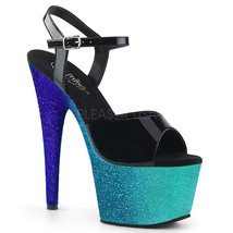 "PLEASER Sexy 7"" Heel Glitter Ombre Platform Ankle Strap Black Women's Shoes - $74.95"