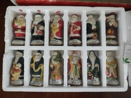 Santas From Around The World Christmas Decoration 12 Hand Painted Santas - $58.04