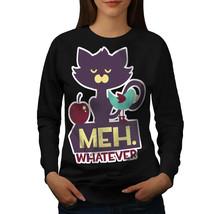 Meh Whatever Animal Cat Jumper Grumpy Meme Women Sweatshirt - $18.99