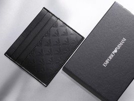 Emporio Armani Slim Leather BLK Card Case Business Card ITALY with Box S... - $218.78