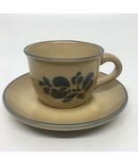 Pfaltzgraff Folk Art Tan & Blue Coffee / Teacup & Saucer - $9.49