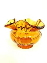 Vintage Fenton Amber Rose Bowl Bud Vase Fluted and Ribbed - $28.71