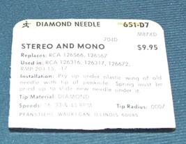 PHONOGRAPH NEEDLE TURNTABLE STYLUS for 126672 RCA 126317 RCA RMP-204-15 651-D7 image 2