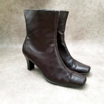 "Flexation by Aerosoles Womens Jean Sz 8.5 M Brown Ankle Boots 3"" Heels - $34.99"