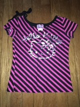 Hello kitty pink black striped tee shirt top size small 6 - 7 - $3.47