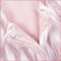 Fluffy Pink White Tufted Long Haired Faux Fur Short Coat Jacket Hidden Fasteners image 3