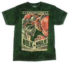 MARVEL COMICS THE HULK VS THE HULK BUSTERS MEN'S LARGE GREEN COTTON T-SH... - $12.97