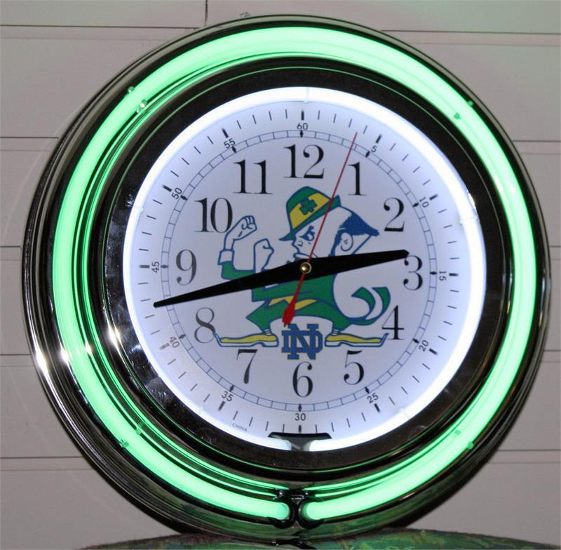 New 14 Inch Notre Dame Football Neon Wall Clock Garage Pub Bar Signs Home Decor
