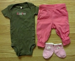 """NWOT Girl's Size NB Newborn Brown """"Mommy Adores Me"""" Top Pants + Carter's - $11.50"""
