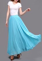 AQUA BLUE Long Chiffon Skirt High Waisted Full Circle Wedding Bridesmaid Skirt image 5