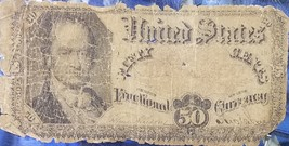 1874-1876 50C Cent Crawford Red Seal Paper U.S. Fractional Currency Note - $19.95