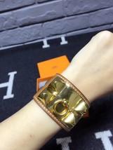 Authentic Hermes Camel Beige CDC Collier De Chien Leather Gold Bracelet Cuff PM image 6