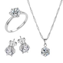 Fashion Silver Color Cubic Zircon Statement Necklace & Earrings Ring Jewelry Set - $14.39