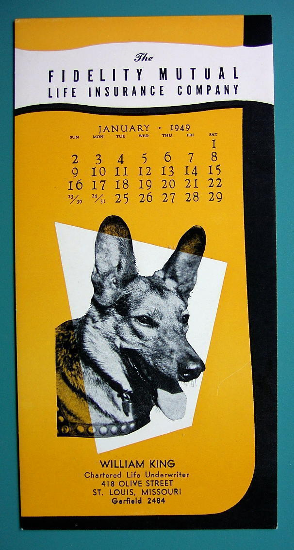 INK BLOTTER 1949 - AD for Fidelity Mutual Co St. Louis MO & German Shepherd Dog