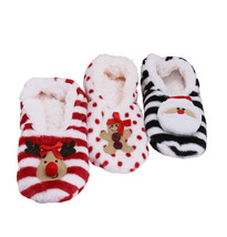 Women's 3 Pack Sherpa Lined Soft Christmas Holiday Reindeer Slippers Socks Shoes image 2