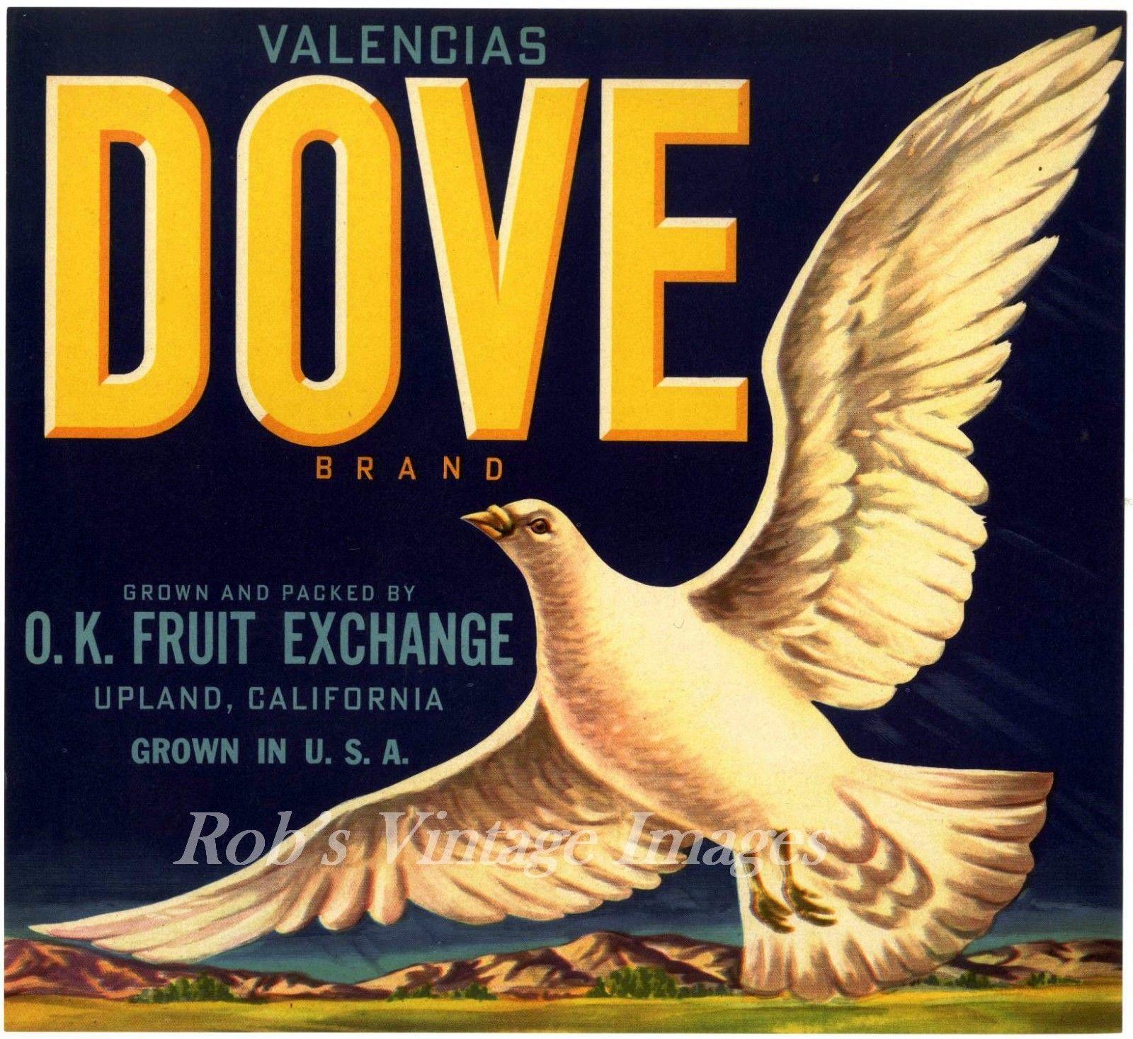 Upland San Bernardino County Dove #2 Orange Citrus Fruit Crate Label Art Print