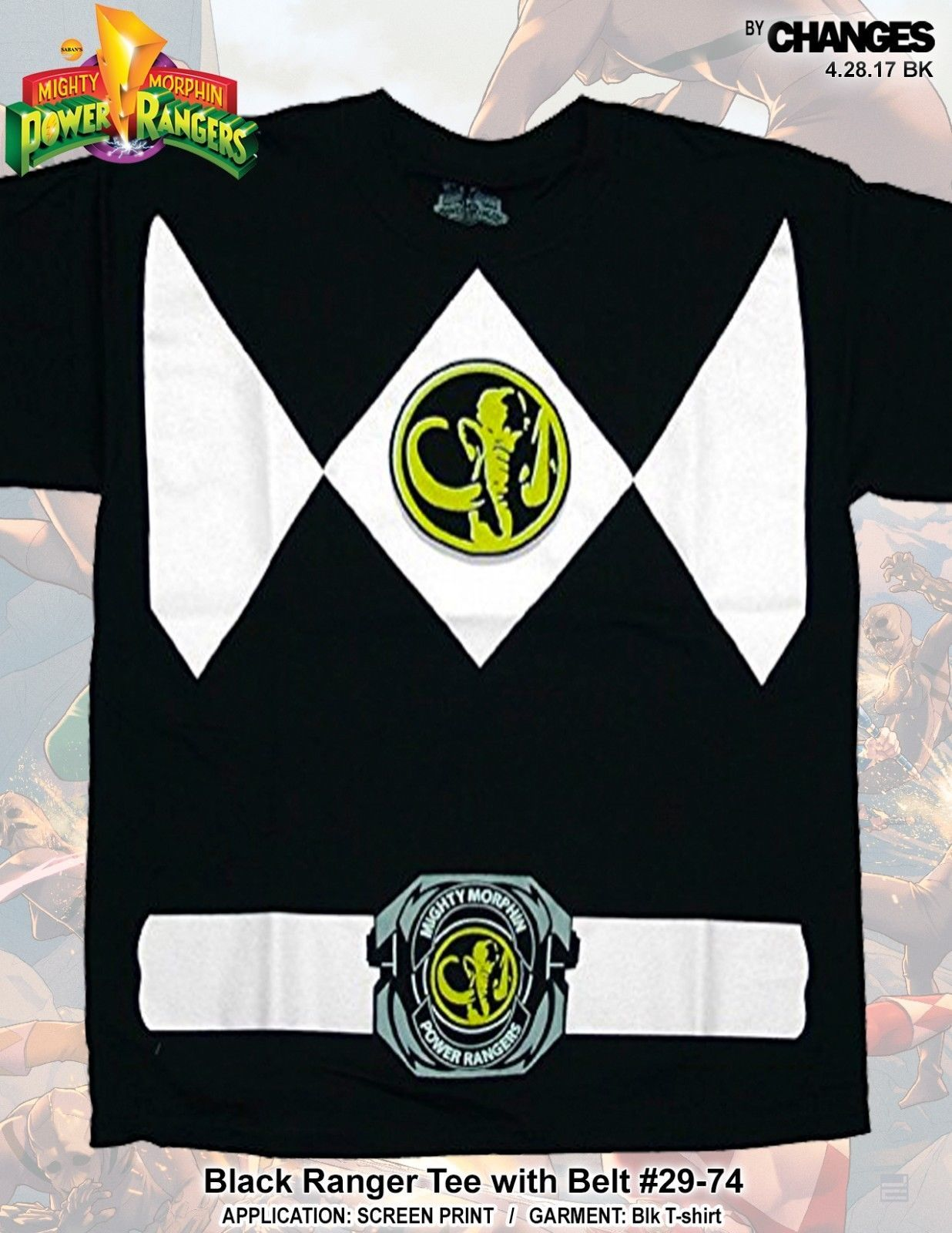 Mighty Morphin Power Rangers Schwarz Ranger Superheld Halloween Kostüm T-Shirt