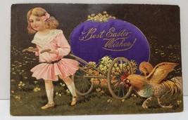 Easter Diecut Silk Embellished Egg PFB Paul Finkenrath Germany 1909 Postcard C3 - $21.95