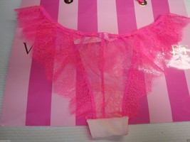 NEW VICTORIA'S SECRET VERY SEXY CHANTILLY LACE LOW RISE CHEEKINI PANTY PINK M image 2