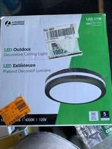 Lithonia Lighting OLCFM 16.6-Watt Bronze Integ. LED Outdoor Ceiling Flush Mount - $52.46