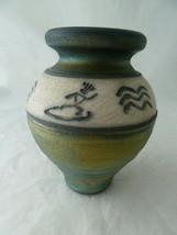 "Art pottery vase irredescent glaze 5 1/4"" Signed 2003 ? Hawaii? - $22.27"