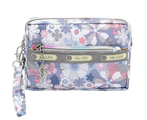 Cute Waterproof Oxford Cloth Three Layer Clutch Handbag Coin Purse, Ice Flowers