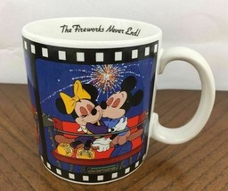 1988 Walt Disney Mickey Minnie Romantic Coffee Mug The Fireworks Never Ends Vtg - $25.49