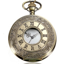DEFFRUN Vintage Roma Steampunk Quartz Pendant Necklace Women Pocket Watch - $6.46