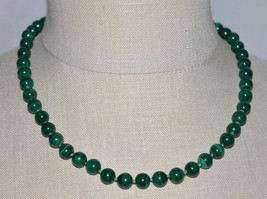 VTG 14k Yellow Gold Clasp Natural Malachite Graduated Bead Beaded Necklace - $99.00