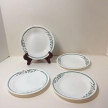 "4 Bread Plates Rosemarie Corelle 6.75"" Pink Flowers Green Leaves - $14.50"
