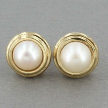 Solid 10K Yellow Gold Cultured Pearl Stud Earrings 3.1 Grams - $79.99
