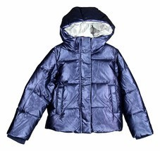 J Crew Crewcuts Girls Metallic Puffer Parka Down Jacket Winter Coat Blue... - €69,77 EUR