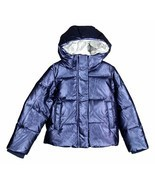 J Crew Crewcuts Girls Metallic Puffer Parka Down Jacket Winter Coat Blue... - $82.79