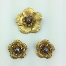 Vtg Brushed Gold Tone Flower Lariat Bolo Necklace Pendant Clip On Earrin... - $14.99
