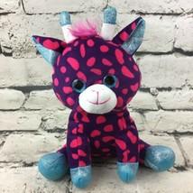 "Giraffe Plush Pink Spotted Blue Shimmer 8"" Sitting Stuffed Animal Soft Toy MGS - $9.89"