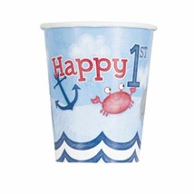 Nautical 1st Birthday 8 Ct Paper 9 oz Hot Cold Cups - $3.26